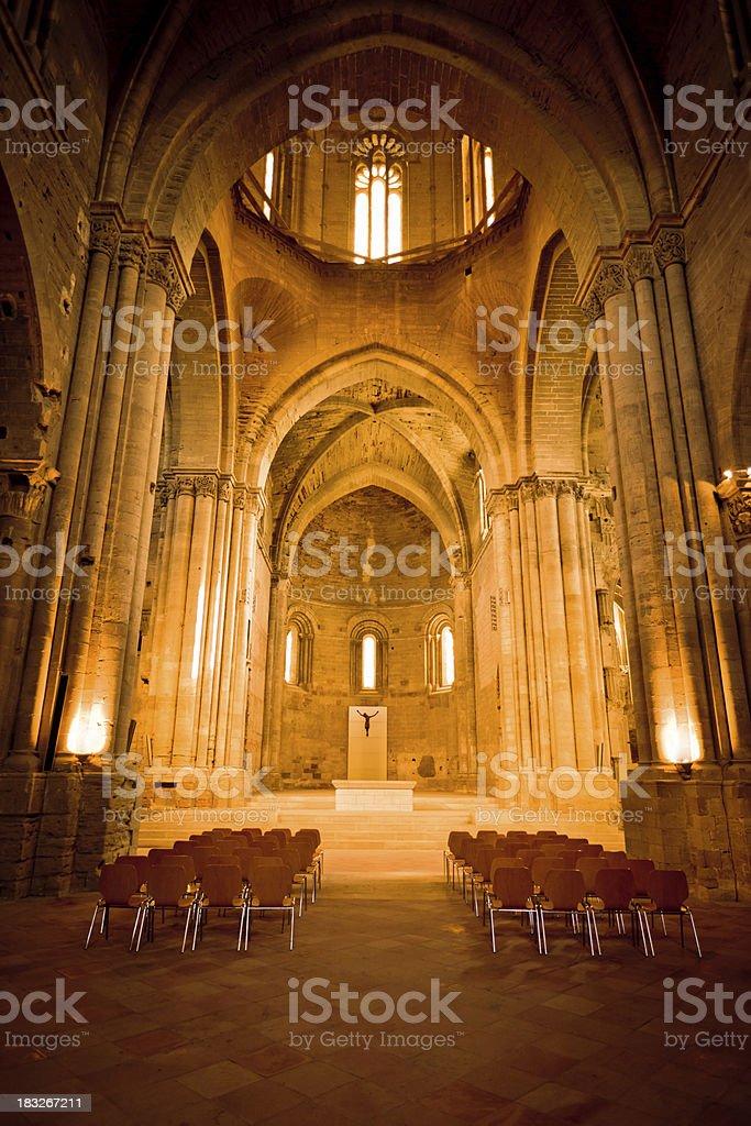 Cathedral Interior Main Aisle LLeida Lerida Spain La Seu Vella royalty-free stock photo