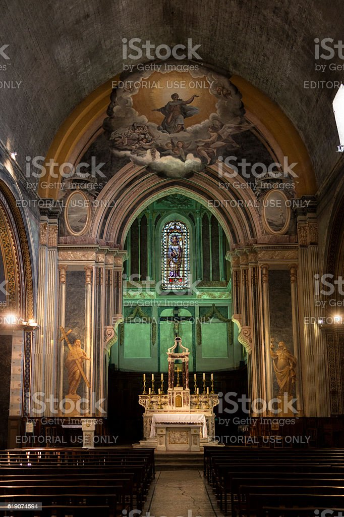 Cathedral Interior - Orange - France stock photo