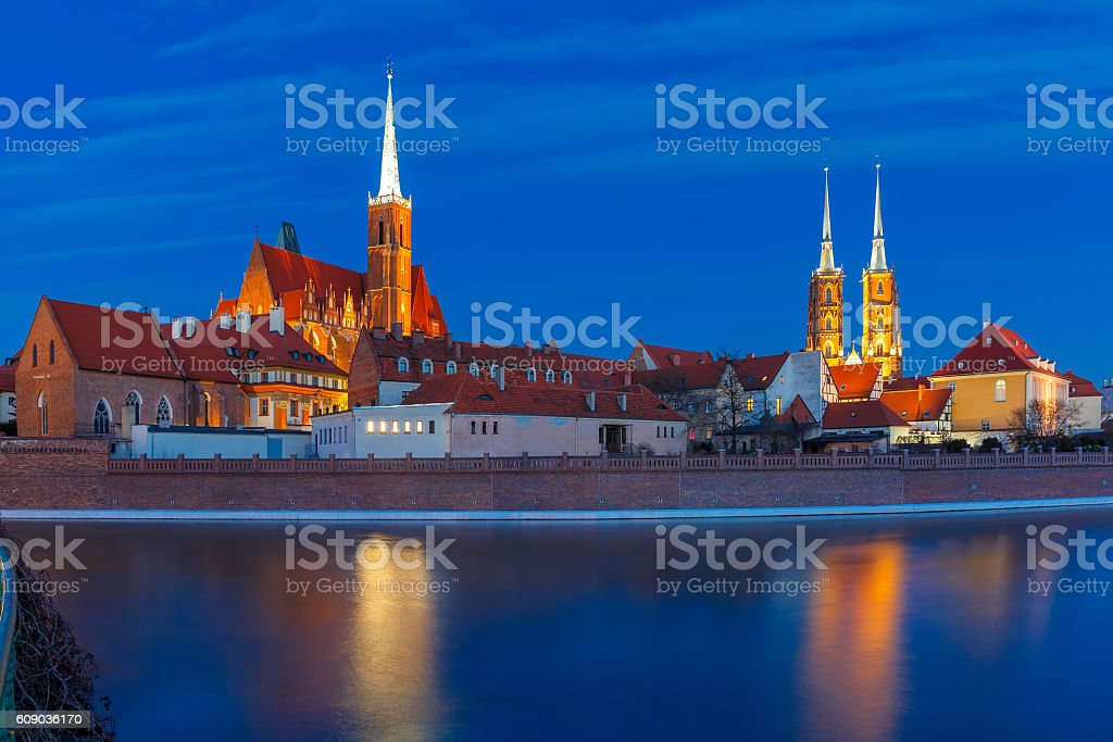 Cathedral Island at night in Wroclaw, Poland stock photo
