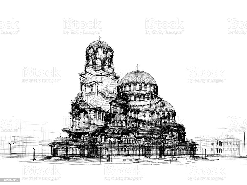 cathedral model wire frame royalty-free stock photo