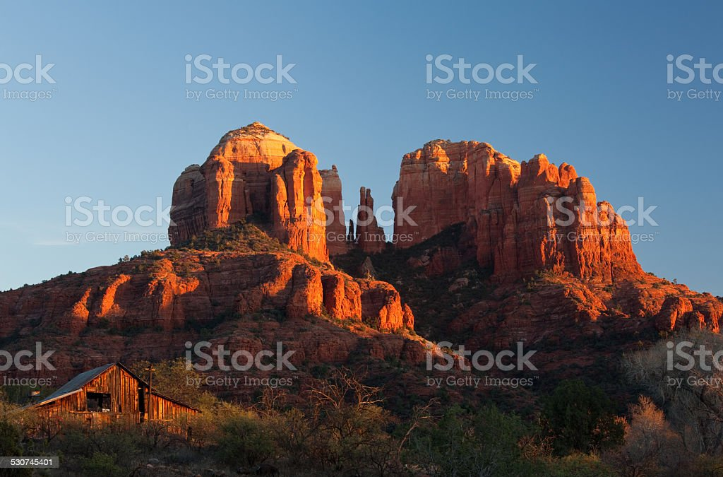 Cathedral Mountain in Sedona stock photo