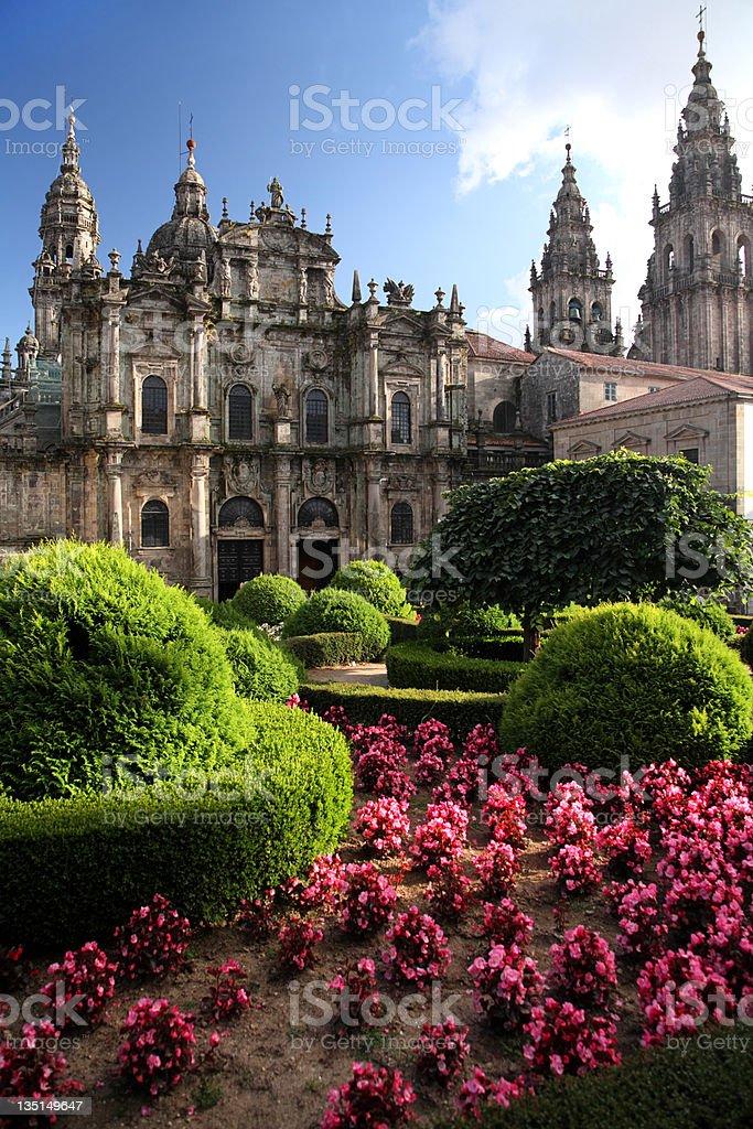 Cathedral, north entrance - Santiago de Compostela stock photo