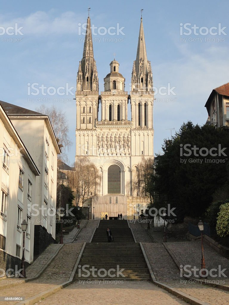 Cathedral of Angers, France stock photo