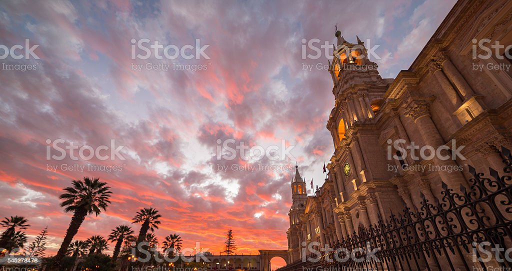 Cathedral of Arequipa, Peru, with stunning sky at dusk stock photo