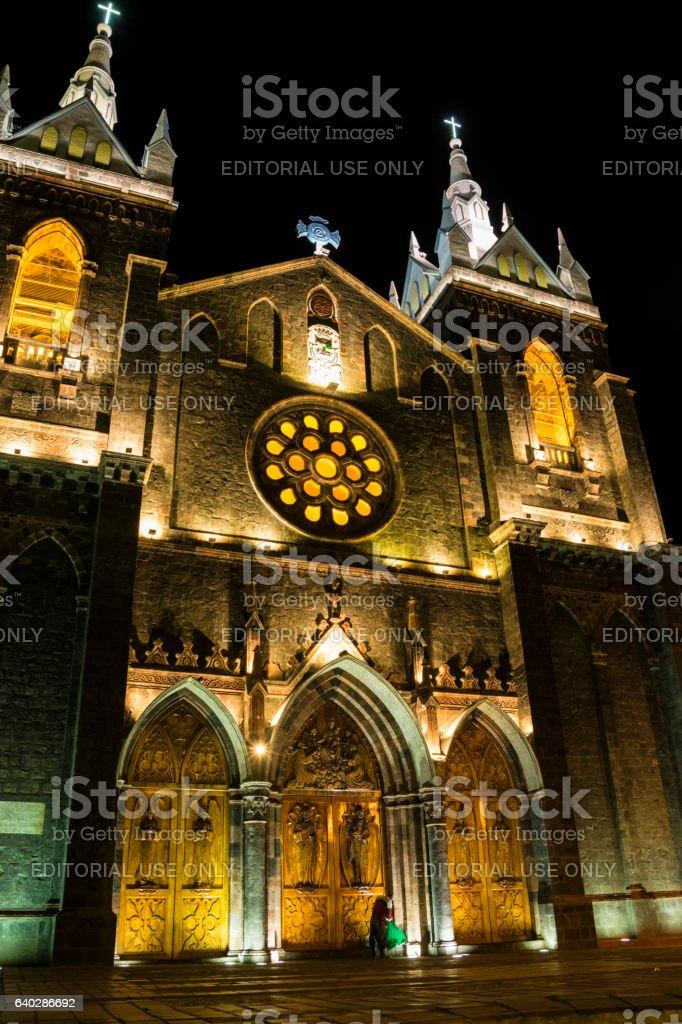 Cathedral of Baños in Ecuador stock photo