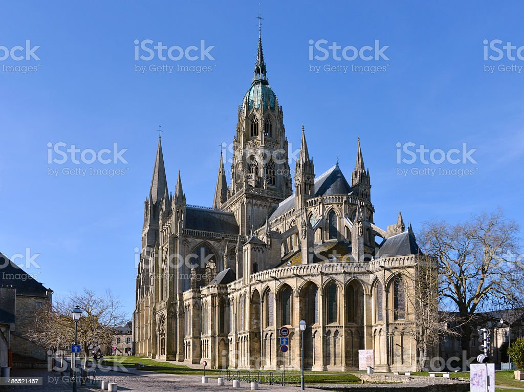 Cathedral of Bayeux in France stock photo