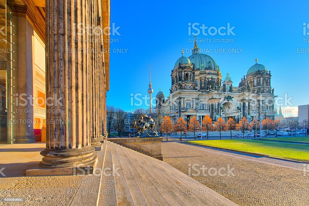 Cathedral of Berlin from the Altes Museum building stock photo