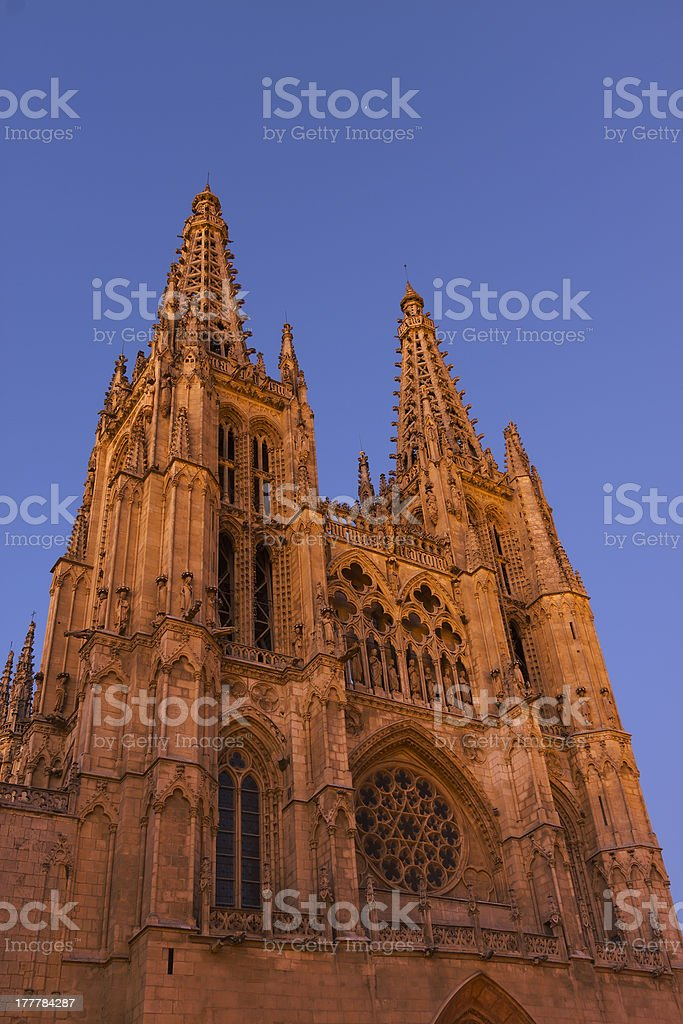 Cathedral of Burgos.Late afternoon. royalty-free stock photo