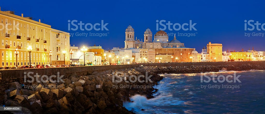 Cathedral of Cadiz in evening time. Quay. Andalusia, Spain stock photo