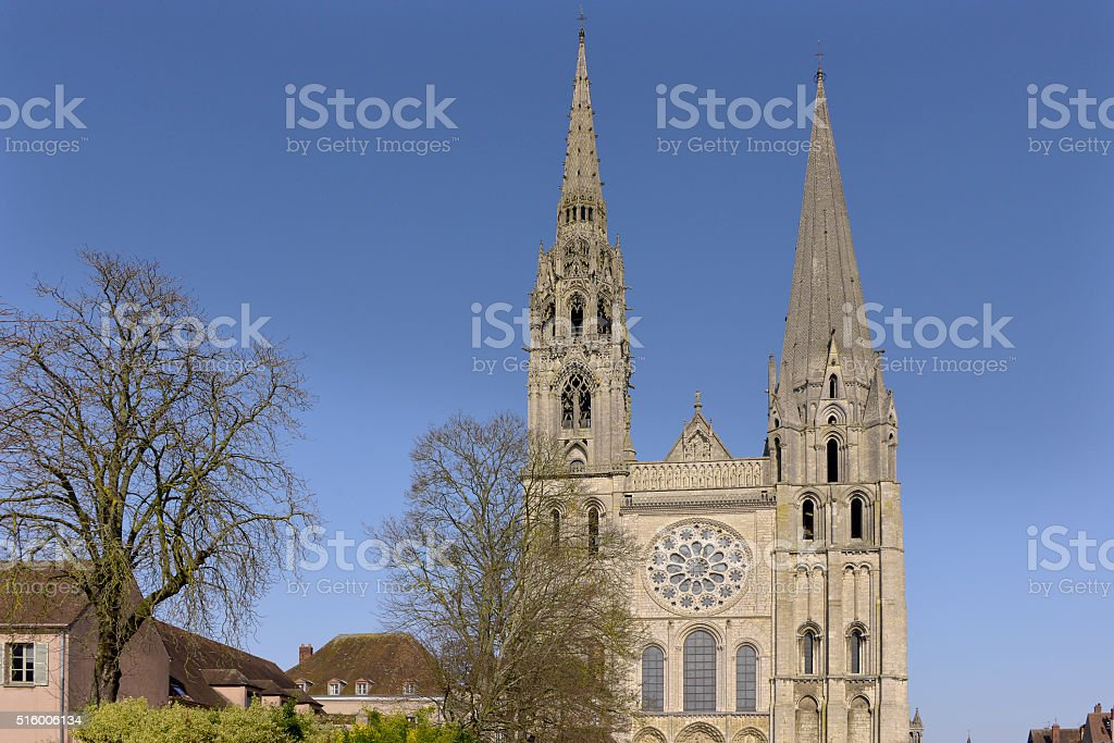 Cathedral of Chartres in France stock photo