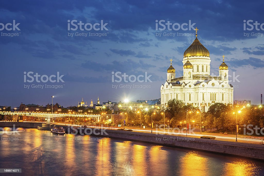 Cathedral of Christ the Saviour at Night,Moscow royalty-free stock photo