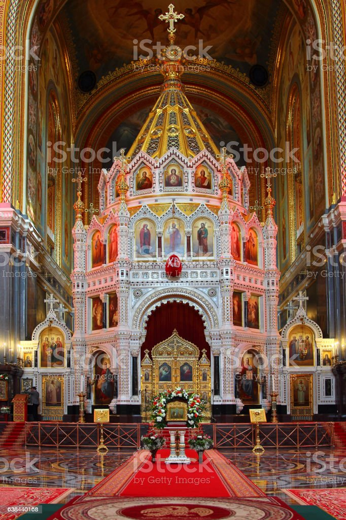 Cathedral Of Christ The Saviour. The iconostasis. Altar. stock photo