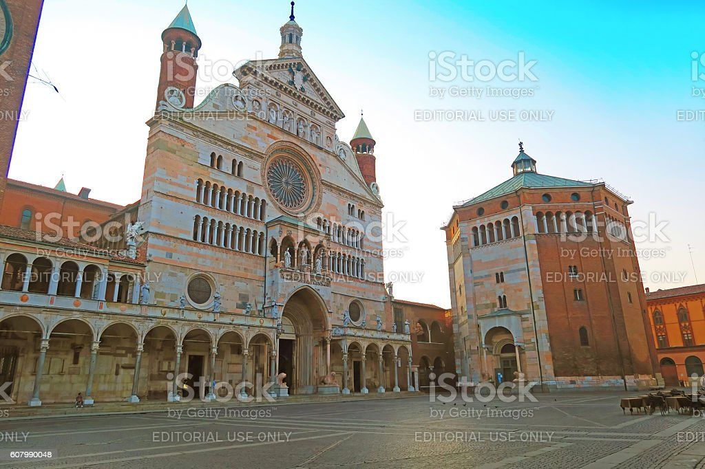 Cathedral of Cremona and baptistery, Italy stock photo