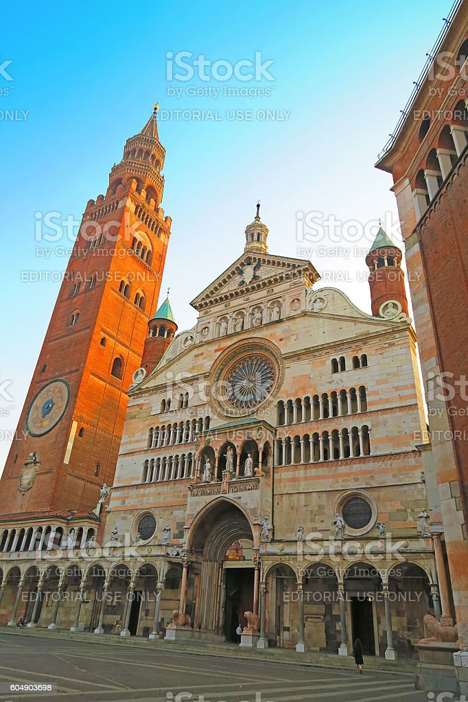 Cathedral of Cremona and Torrazzo, Italy stock photo