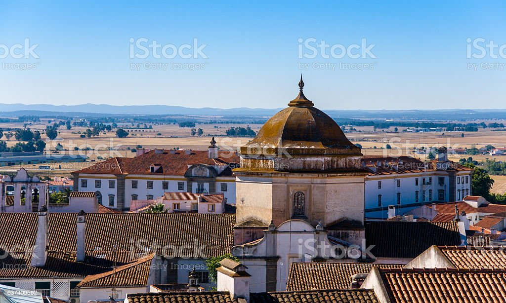Cathedral of Evora in the Alentejo region of Portugal stock photo