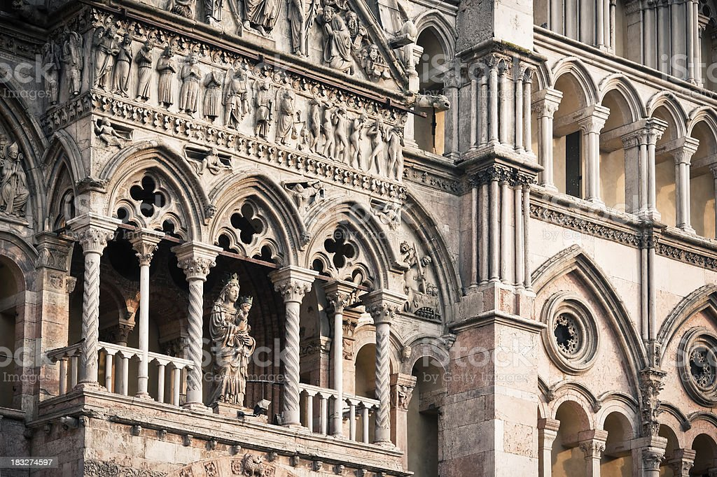 Cathedral of Ferrara Facade Detail in Italy royalty-free stock photo