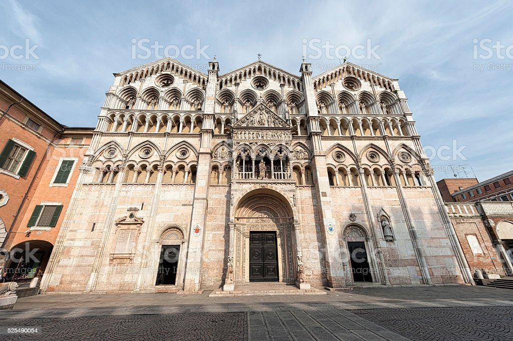 Cathedral of Ferrara (Italy) stock photo