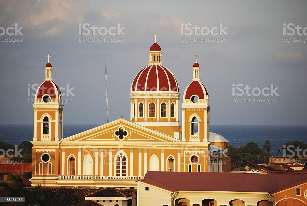 Cathedral of Granada at Sunset stock photo