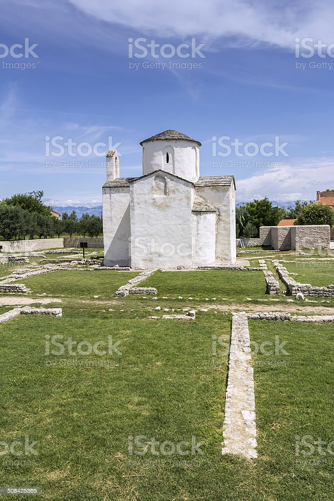 Cathedral of Holy Cross in Nin stock photo