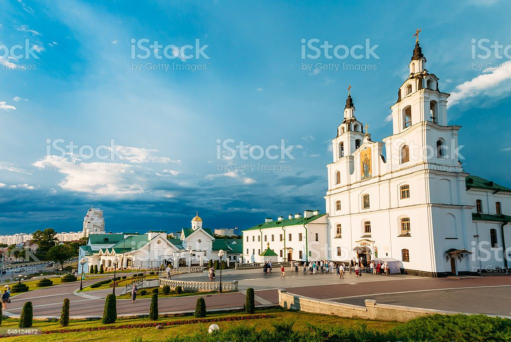 Cathedral Of Holy Spirit Minsk - Main Orthodox Church  Belarus stock photo