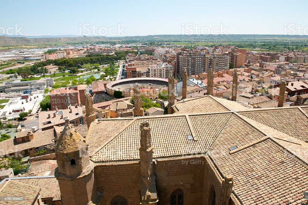Cathedral of Huesca Rooftop - Spain stock photo