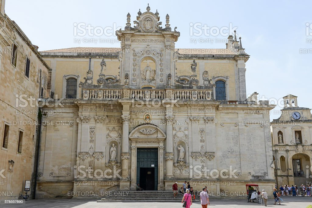 Cathedral of Lecce in Pauglia, Italy stock photo