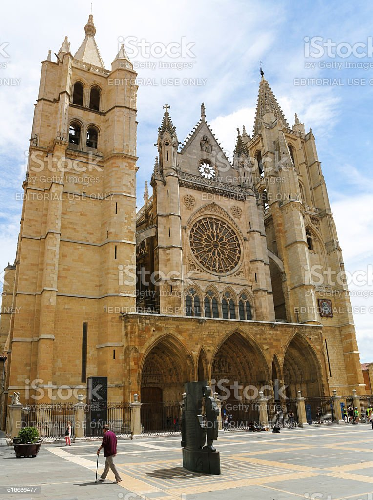 Cathedral of Leon stock photo