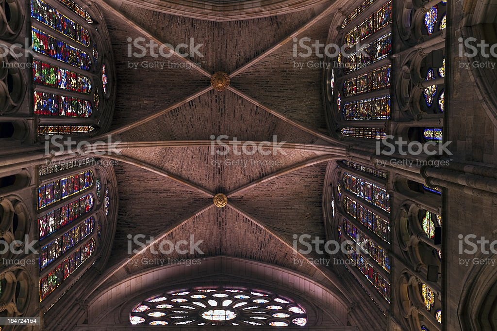Cathedral of Leon,interior. royalty-free stock photo