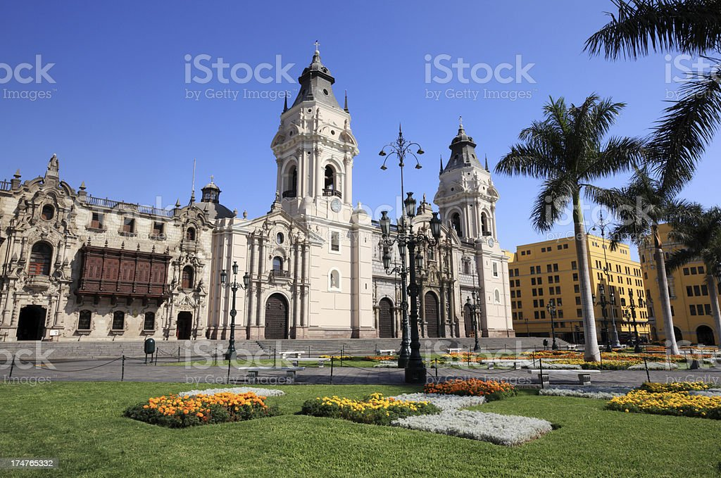Cathedral of Lima, Peru stock photo