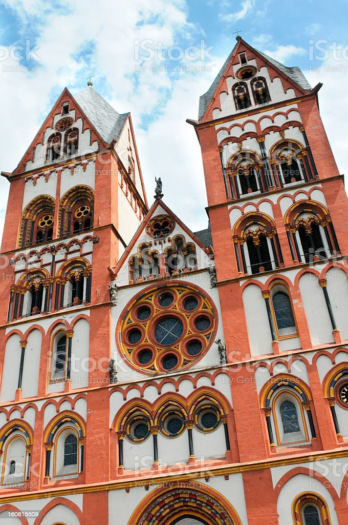 Cathedral of Limburg at hill over Lahn River (Hessen Germany) stock photo