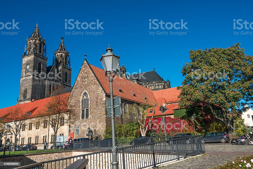 Cathedral of Magdeburg at Autumn, Germany stock photo