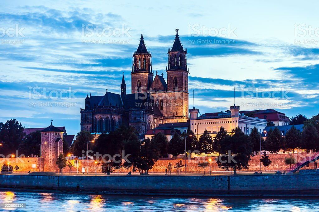 Cathedral of Magdeburg at sunset stock photo