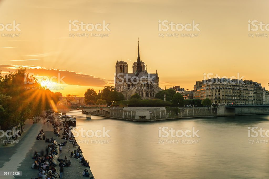 Cathedral of Notre Dame de Paris at sunset, France stock photo