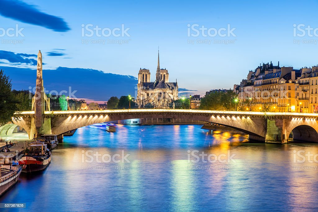 Cathedral of Notre Dame de Paris at sunset. Paris, France stock photo
