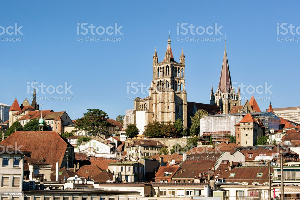 Cathedral of Notre Dame in Lausanne stock photo