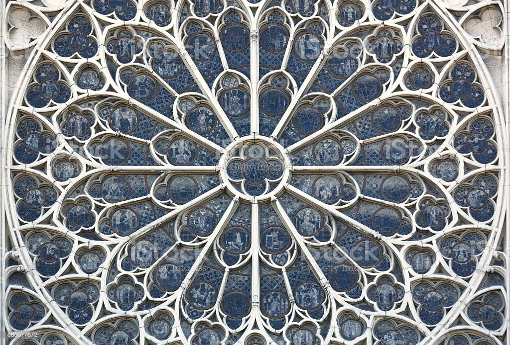 Cathedral of Notre Dame Paris France detail window stock photo