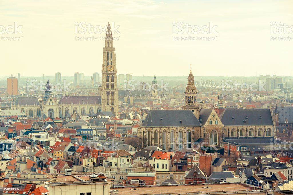 Cathedral of Our Lady and Church of Saint Paul in Antwerp, Belgium stock photo