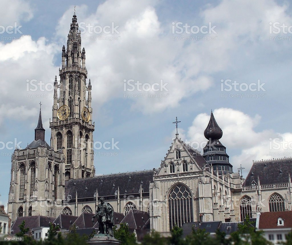 Cathedral Of Our Lady Church Building In Antwerp.Belgium.Europe stock photo