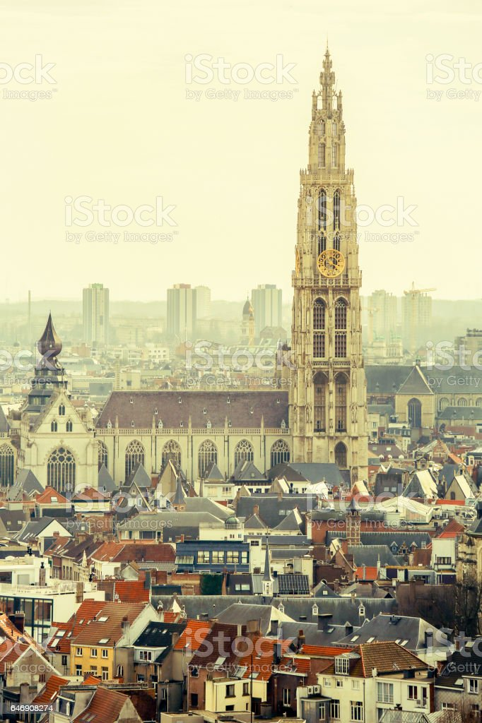 Cathedral of Our Lady in Antwerp, Belgium stock photo