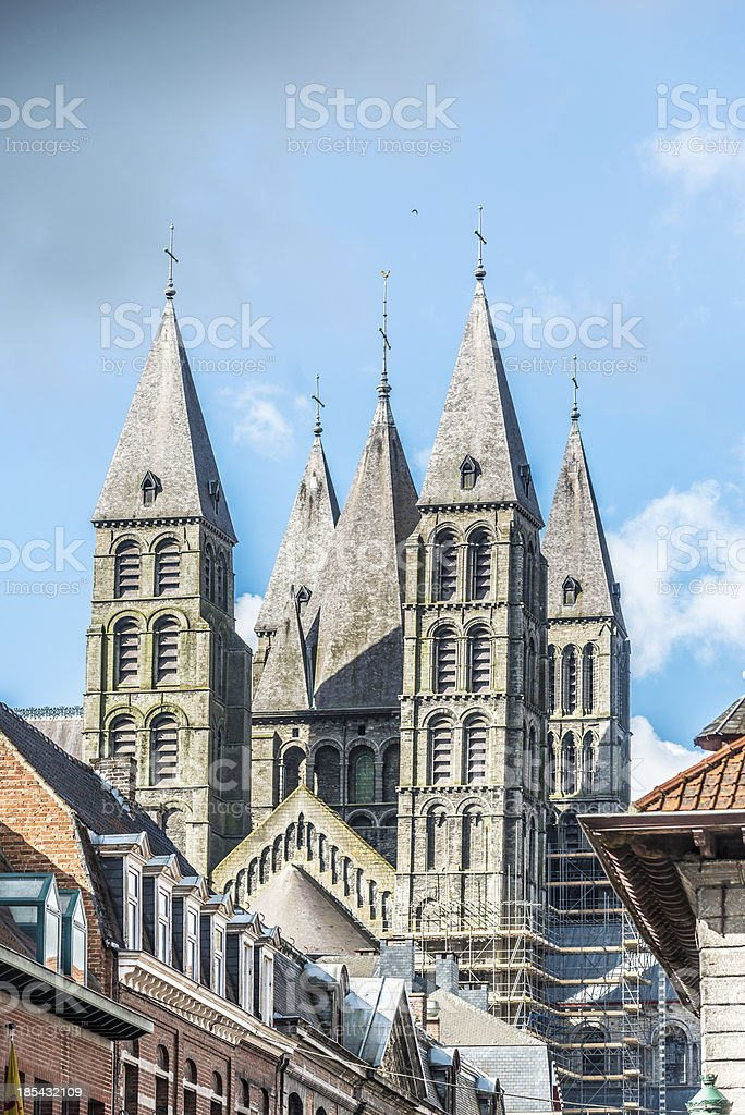 Cathedral of Our Lady in Tournai, Belgium stock photo