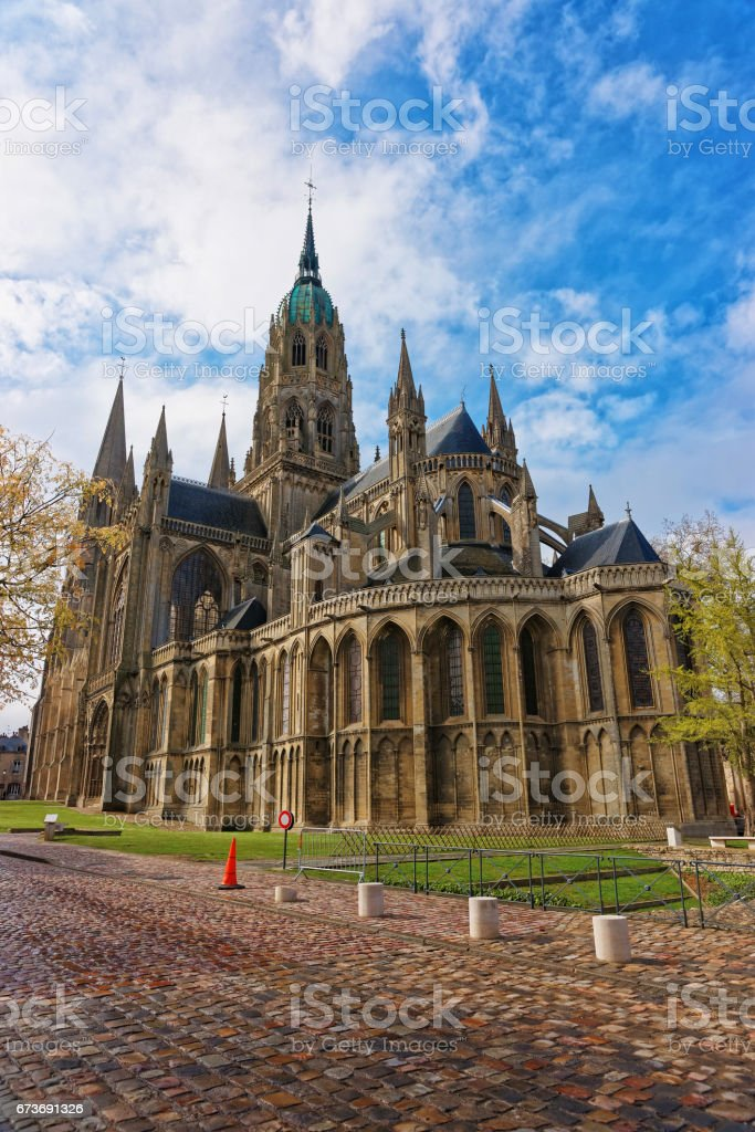 Cathedral of Our Lady of Bayeux in Calvados Normandy stock photo