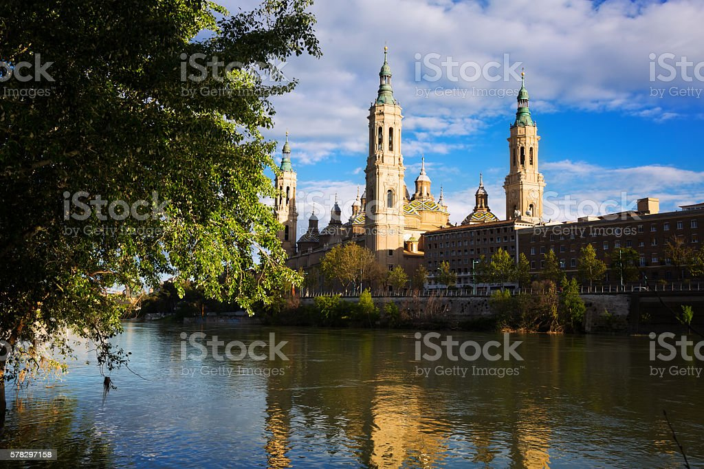 Cathedral of Our Lady of the Pillar in sunny evening stock photo