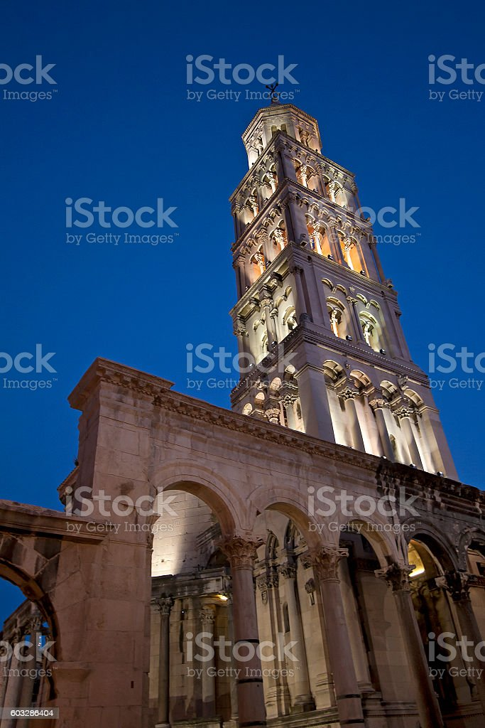 Cathedral of Peristyle square in Split, Croatia stock photo