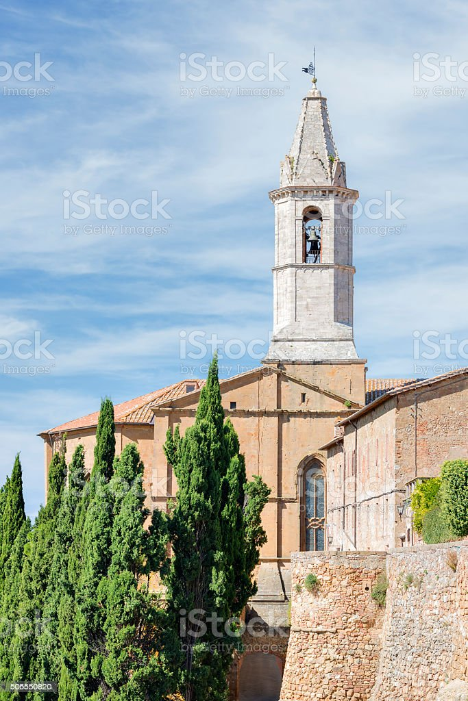 cathedral of pienza stock photo