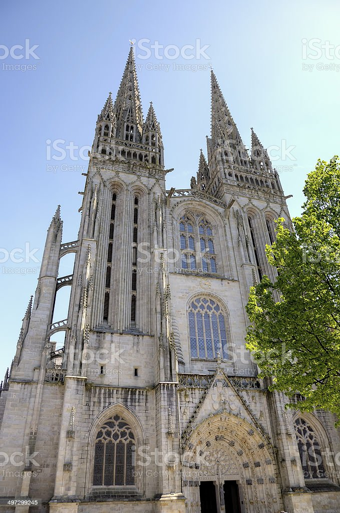 Cathedral of Quimper. France stock photo