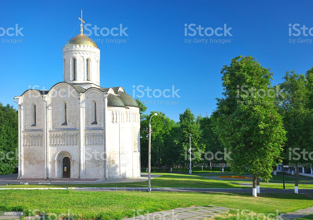Cathedral of Saint Demetrius  in Vladimir, Russia stock photo