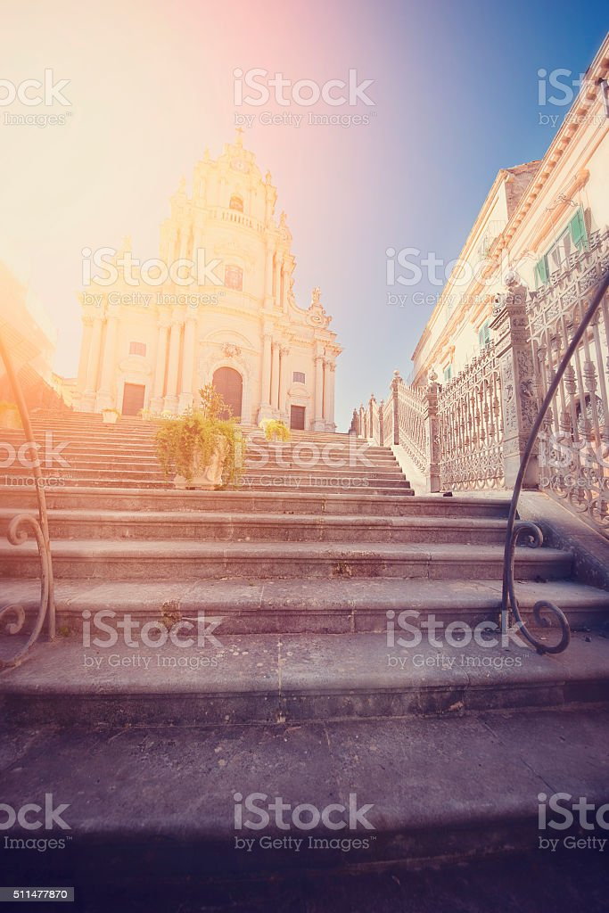 Cathedral of Saint George, Ragusa, at Sunset. stock photo