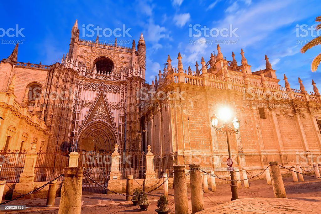 Cathedral of Saint Mary in Seville, Spain stock photo