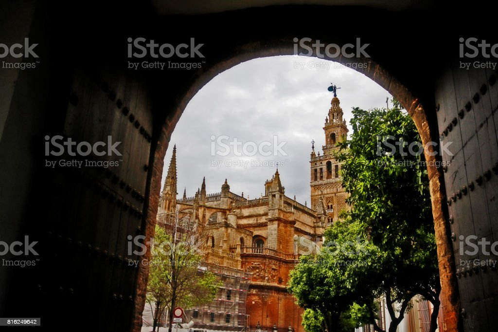 Cathedral of Saint Mary of the See (Catedral de Santa Maria de la Sede), or Seville Cathedral, a Roman Catholic cathedral and the third-largest church in the world, Seville (Sevilla), Andalusia, Southern Spain stock photo