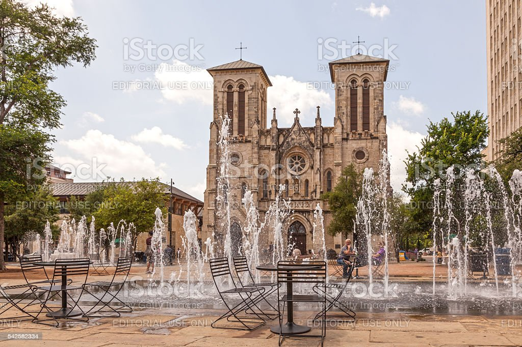 Cathedral of San Fernando in San Antonio, Texas stock photo